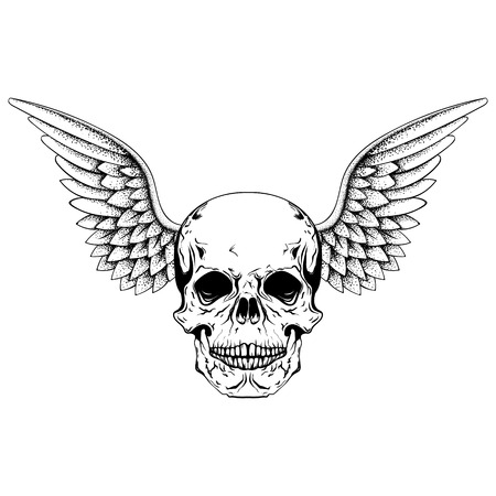 dirty t shirt: Hand drawn sketch skull with wings, tattoos line art. Vintage vector illustration isolated on white background.