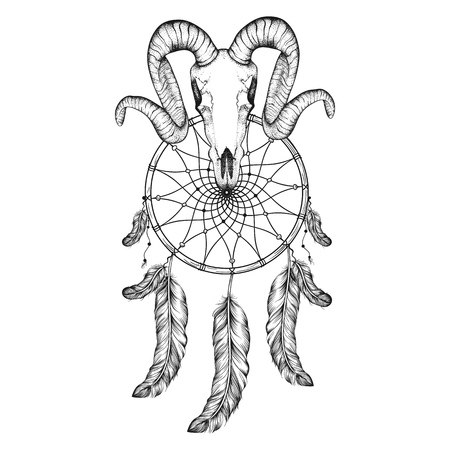 dreams: Hand Drawn goat skull doodle vector illustration. Dotwork fullface of ram, deer, horned animal with dream catcher tattoo design.  Sketch for hipster tattoo or bohemian logo.