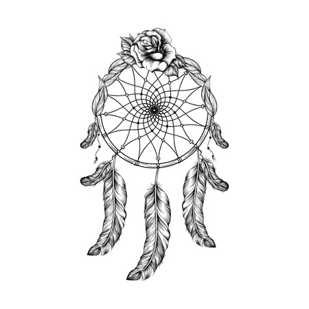 Dream catcher with feathers, leafs and rose  in line art style, high detailed ritual thing. American boho spirit. Hand drawn sketch vector illustration for tattoos or t-shirt print. Illustration