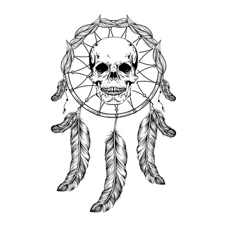 Dream catcher with feathers and leafs, skull in center maden in line art style, high detailed ritual thing. American boho spirit. Hand drawn sketch vector illustration for tattoos or t-shirt print.