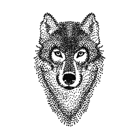 wolf face: Dotwork tattoo design stylized Wolf face. Hand Drawn doodle vector illustration. Sketch for tattoo or makhenda. Animal collection.