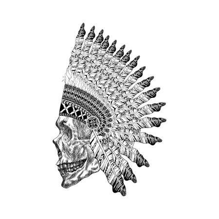 man profile: Shading scull with feathered war bannet in zentangle style, Headdress for Indian Chief. American ethnic boho spirit. Hand drawn sketch vector illustration for tattoos.