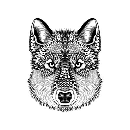 Zentangle estilizado cara del lobo. Dibujados a mano de la ilustración del vector del Doodle de Guata. Alta croquis detallado para el tatuaje o makhenda. Colección animal.