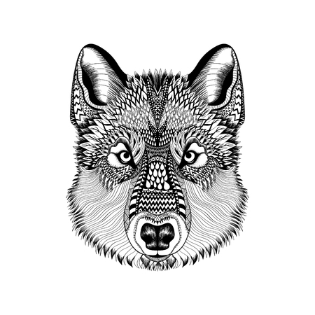 black and white wolf: Zentangle stylized Wolf face. Hand Drawn Guata doodle vector illustration. High detailed Sketch for tattoo or makhenda. Animal collection.