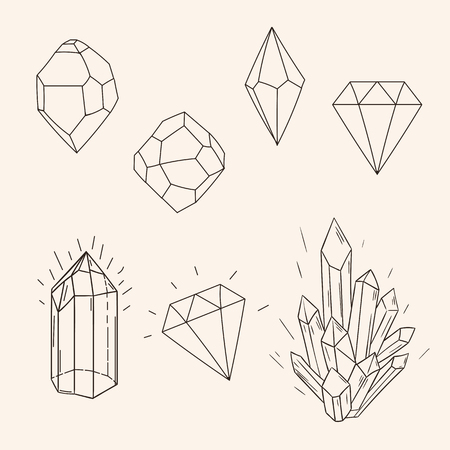diamond stones: Hand drawn set sketch crystal,diamond and polygonal figure tattoo design line art. Vintage vector illustration isolated on background.