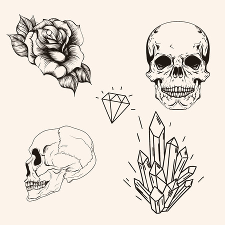 red rose black background: Hand drawn set sketch scull tattoo line art. Vintage vector illustration. Head bones, rose, profile scull, diamond and crystal isolated on background.