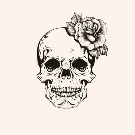 Hand drawn sketch scull with rose tattoo line art. Vintage vector illustration isolated on background.