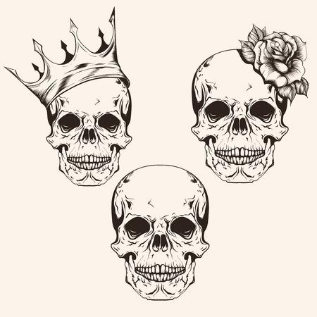 Hand getrokken reeks schets schedels tattoo ontwerp lijntekeningen. Vintage vector illustratie geïsoleerd op een achtergrond.