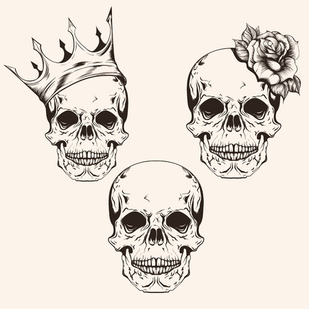 Hand drawn set sketch sculls tattoo design line art. Vintage vector illustration isolated on background. Vettoriali