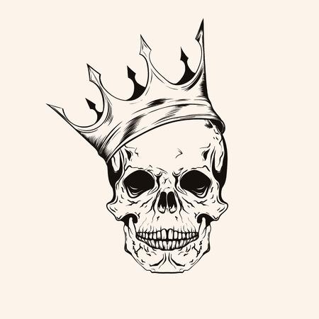 Dibujado a mano scull boceto con la línea arte del tatuaje de la corona. ilustración del vector de la vendimia aislado en el fondo. Ilustración de vector