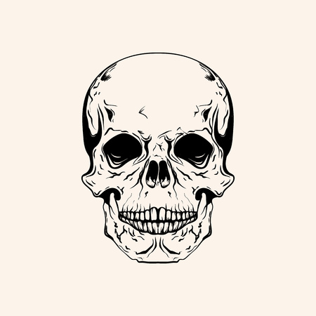 Hand drawn sketch scull tattoo line art. Vintage vector illustration isolated on background.