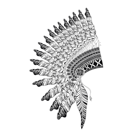 indian headdress: Feathered War bannet in zentangle style, high datailed headdress for Indian Chief. American boho spirit. Hand drawn sketch vector illustration for tattoos.