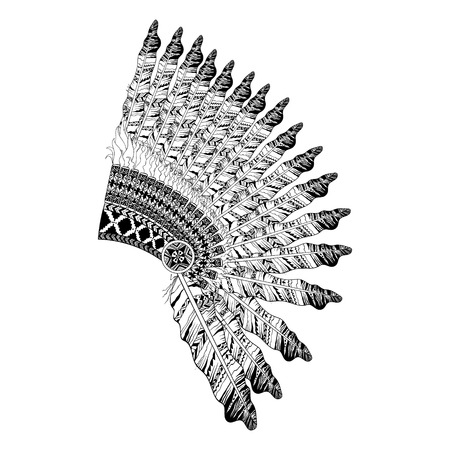 indian headdress: Feathered War bannet in zentangle style, Headdress for Indian Chief. American boho spirit. Hand drawn sketch vector illustration for tattoos.