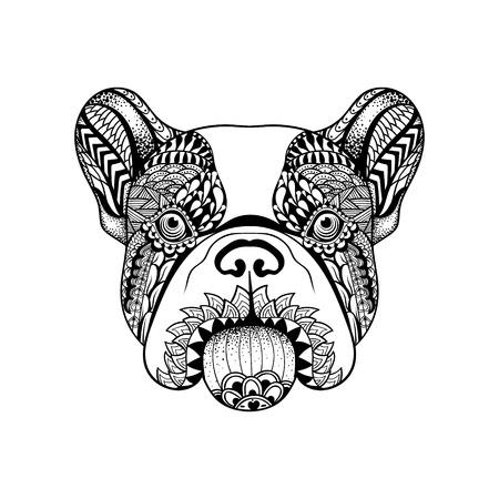 Zentangle estilizada cara de bulldog francés. Dibujado a mano perro doodle ilustración vectorial. Boceto para tatuaje o makhenda. Colección de animales. Ilustración de vector