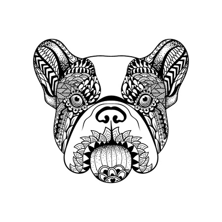boston terrier: Zentangle stylized French Bulldog face. Hand Drawn Dog doodle vector illustration. Sketch for tattoo or makhenda. Animal collection.