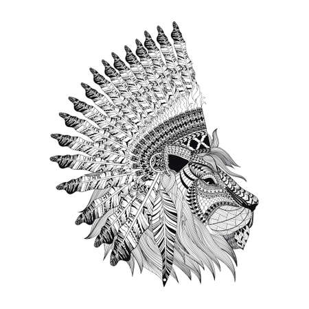 black and white image drawing: Lion face with feathered war bannet in zentangle style, high detailed headdress for Indian Chief. American boho spirit. Hand drawn sketch vector illustration for tattoos.