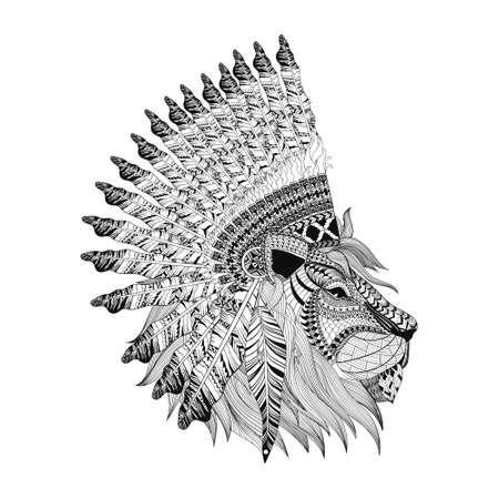 profil: twarz lew z ptactwa wojennej bannet w zentangle stylu, wysokiej szczegółowe nakrycia głowy dla Indian Chief. American Spirit boho. Ręcznie rysowane szkic ilustracji wektorowych dla tatuaży. Ilustracja