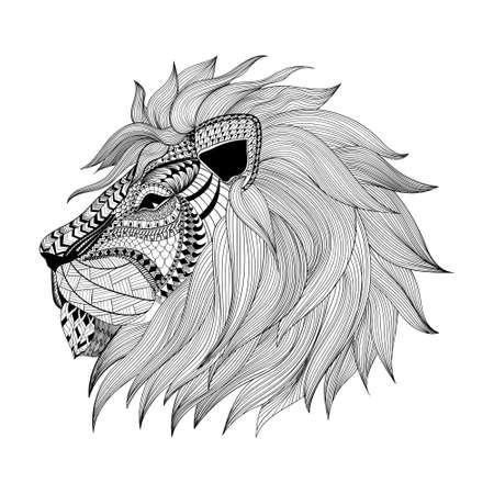 dibujo: Zentangle estilizado cara del león. Ilustración del vector del Doodle dibujado a mano. Boceto para el tatuaje o makhenda. Colección animal. Vectores