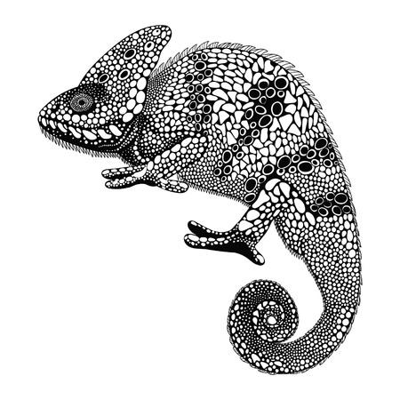 schwarz: Zentangle stilisierte Chamäleon. Hand gezeichnete Reptil Vektor-Illustration in Doodle-Stil. Skizze für Tätowierung oder makhenda. Tiersammlung.