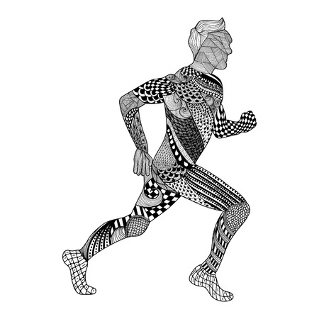 abstract black: Zentangle stylized Runner. Hand Drawn Man doodle style vector illustration. Sketch for tattoo or makhenda. Sport collection. Illustration