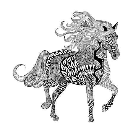 Zentangle stylized Black Horse. Hand Drawn doodle vector illustration. Sketch for tattoo or makhenda. Animal collection. Illustration