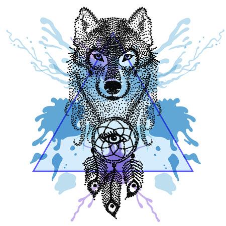 Dotwork tatoo estilizado cara de lobo con el cazador de sueños en el marco de triángulo con gotas de tinta acuarela. Ilustración del vector del Doodle dibujado a mano. Boceto para el tatuaje. colección Boho. Ilustración de vector