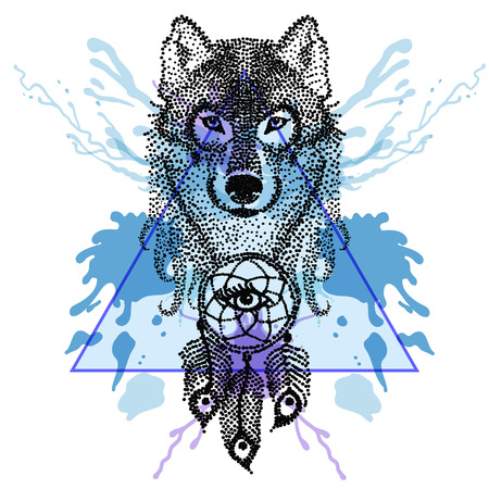 Dotwork tatoo stylized Wolf face with dreamcatcher in triangle frame with watercolor ink drop. Hand Drawn doodle vector illustration. Sketch for tattoo. Boho collection.