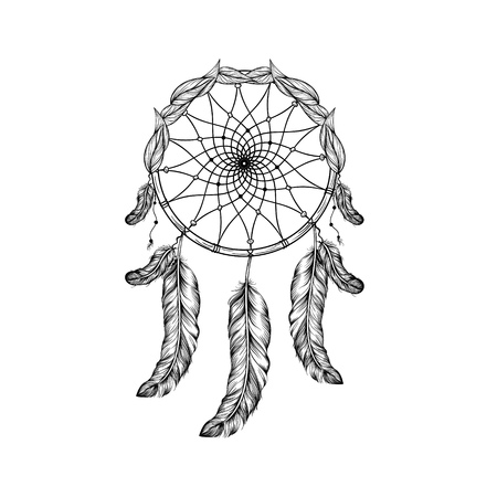 tattoo design: Dream catcher with feathers and leafs  in line art style, high detailed ritual thing. American boho spirit. Hand drawn sketch vector illustration for tattoos or t-shirt print.