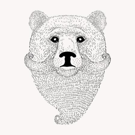 oso negro: Bosquejo del oso con una barba y bigote. ilustraci�n vectorial de dibujado a mano de estilo Doodle. Vectores