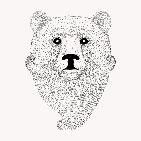 Sketch Bear with a beard and moustache. Hand drawn vector  illustration in Doodle style.