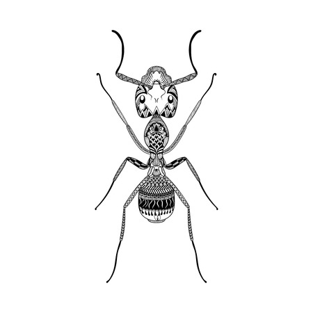 Zentangle stylized Black Ant. Hand Drawn Termite vector illustration. Sketch for tattoo or makhenda. Insect collection. Illustration