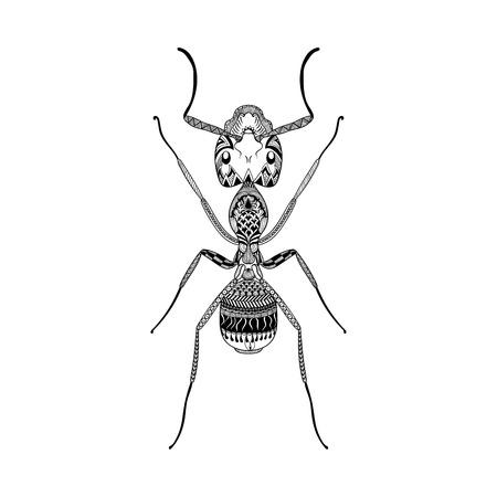 Zentangle には、黒骨董手描画シロアリ ベクトル図が様式化されました。入れ墨または makhenda のためのスケッチします。昆虫のコレクションです。
