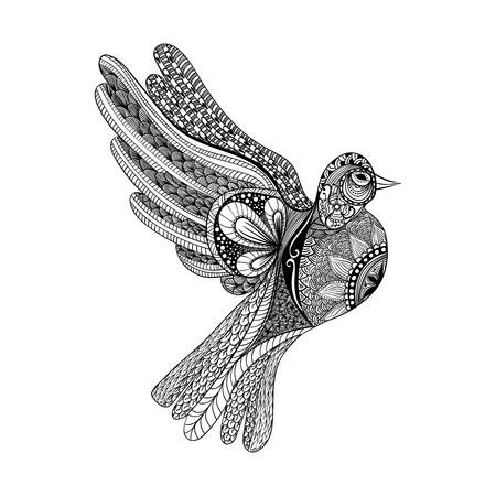 Zentangle estilizado de la paloma de flores para el Día de la Paz. Dibujado mano de la paloma de la paz ilustración vectorial. Boceto para el tatuaje o makhenda. colección de aves. Ilustración de vector