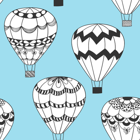summertime: Summertime concept seamless pattern in doodle style. Cute hot air balloons zentangle stilezed background in vector.