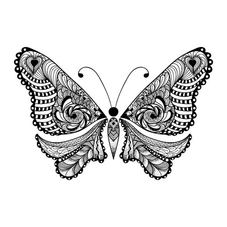 hand butterfly: Zentangle stylized black Butterfly. Hand Drawn vector illustration isolated on white background. Sketch for tattoo or makhenda. Insect collection.