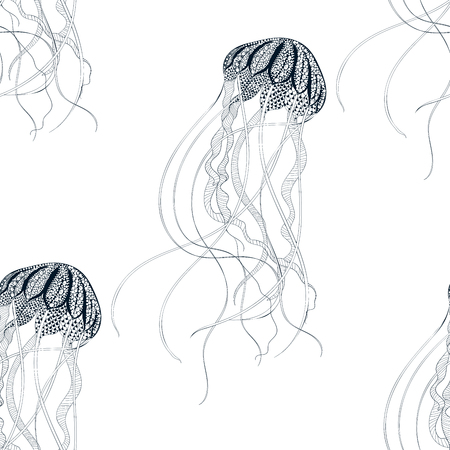 jelly fish: Zentangle stylized Jellyfish seamless pattern. Hand Drawn vector illustration isolated on white background. Sketch for tattoo or makhenda. Sea collection. Illustration