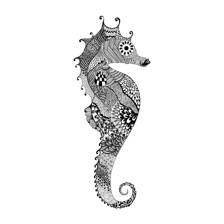 hippocampus: Zentangle stylized black Sea Horse. Hand Drawn vector illustration isolated on white background. Sketch for tattoo or makhenda. Sea collection.