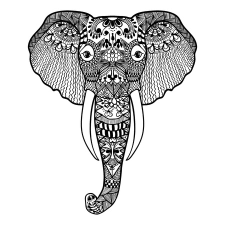 Zentangle stylized Elephant. Hand Drawn lace vector illustration isolated on white background. Sketch for tattoo or makhenda. Vettoriali