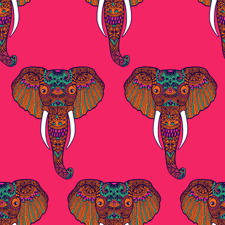 Zentangle stylized Indian Elephant. Hand Drawn vector illustration isolated on white background. Makhenda Bollywood seamless pattern.