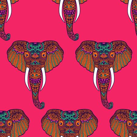 Zentangle stylized Indian Elephant. Hand Drawn vector illustration isolated on white background. Makhenda Bollywood seamless pattern.