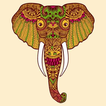 Zentangle stilisierten indischen Elefanten. Hand gezeichnete Spitze Vektor-Illustration auf weißem Hintergrund. Skizze für makhenda.