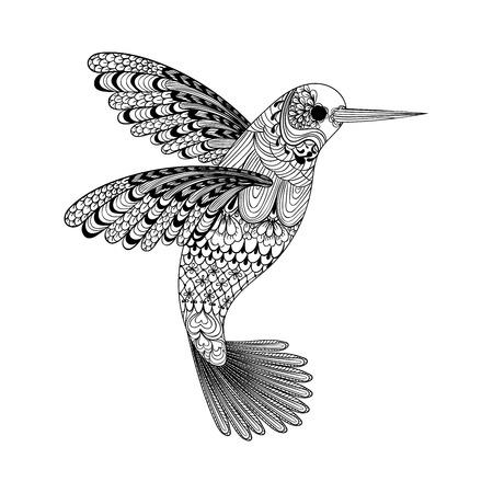 pajaros: Zentangle estilizado del colibrí negro. Mano vector dibujado aislado en el fondo blanco. Boceto para el tatuaje o makhenda. colección de aves.