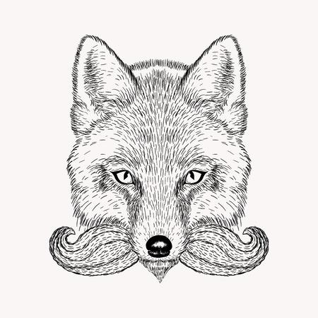 Fox boceto con barba y bigote. ilustración vectorial de dibujado a mano de estilo Doodle. esbozo de grabado para los tatuajes.
