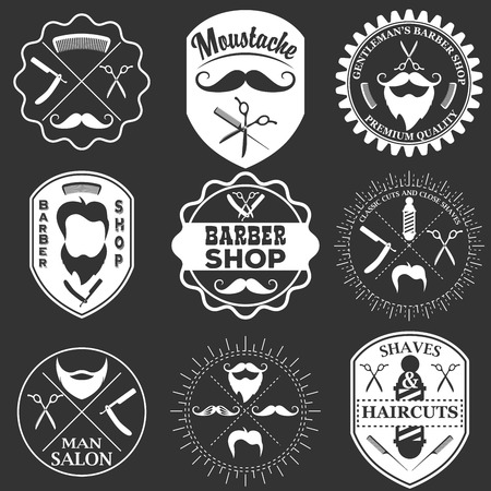 Set of vintage barber shop logo templates, labels and badges made in vector. Haircuts logotypes, moustache icons and design elements  isolated on white background. Monochrome style.