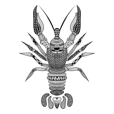 logo poisson: Zentangle stylisé Crawfish noir. Hand Drawn vecteur écrevisse illustration. Lobster Esquisse pour tatouage ou makhenda. la collecte des produits de la mer. Illustration