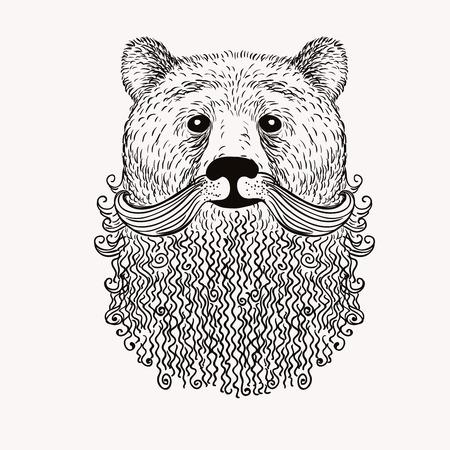 Schets Bear met een baard. Hand getrokken vector illustratie. Doodle stijl. Stock Illustratie