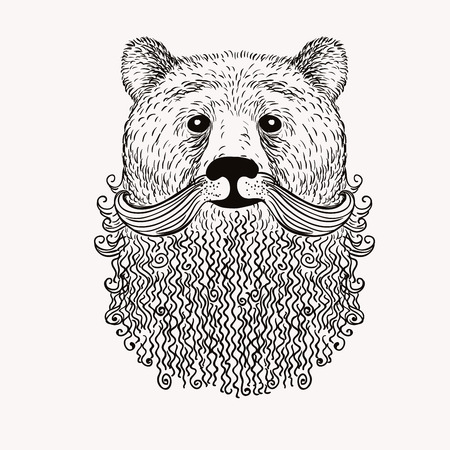 Sketch Bear with a beard. Hand drawn vector  illustration. Doodle style.