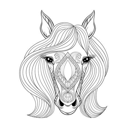 Vector Horse. Pagina da colorare con cavallo faccia zentangled. Disegnata a mano fantasia Testa di cavallo con i capelli, Cavallo artistico decorativa per adulti SNTI libri di stress da colorare. stile Zentangle per boho, tatuaggio all'hennè