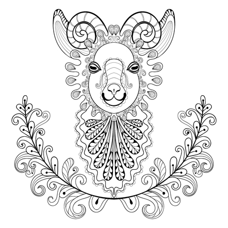 artistically: Ram with floral frame. wreathe. Vector zentangle Ram Head illustration,  Goat print for adult anti stress coloring page. Hand drawn artistically ornamental patterned decorative Sheep for tattoo design