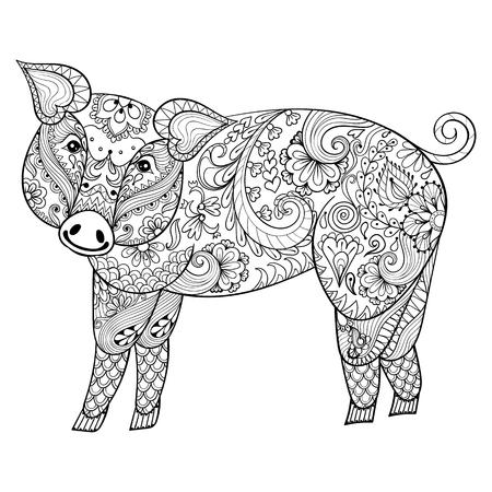 Vector Pig. Zentangle ejemplo del cerdo, imprimir la página de los cerdos por un adulto contra el estrés coloración. Dibujado a mano artísticamente ornamentales patrón de los animales decorativos para el tatuaje, diseño boho Ilustración de vector
